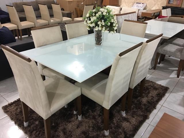 Mesa REAL seis cadeiras de madeira e pintura laka luxo - Foto 3