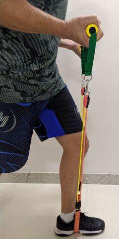 Kit 14 Peças com 04 Elásticos Extensores Musculação Pylates CrossFit Funcional - Foto 5