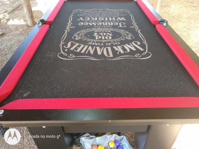 Mesa Charme de Bilhar e Jantar Cor Preta Tecido Preto Jack Daniels PPQT0957 - Foto 2