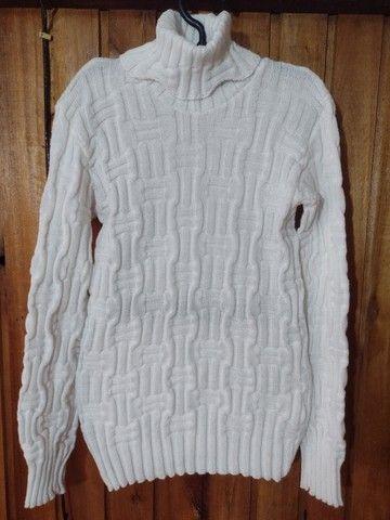 234 - Blusa de lã branca feminina - Tam G