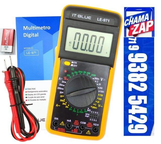 Multimetro Digital Aviso Sonoro Leitor Lcd + Capa It Blue LE-971