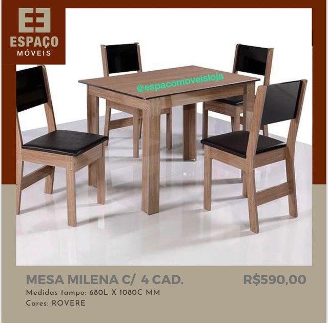 Mesa Milena com 4 Cadeiras em MDF #Entrega e Montagem Grátis  - Foto 3