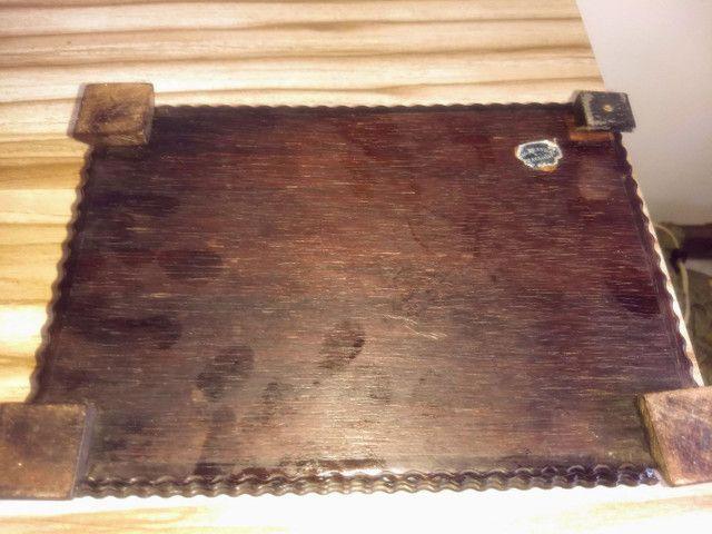 caixa porta jóias antiga de madeira jacarandá e prata de lei - Foto 6