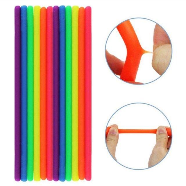 12 Pcs Macarrões Elásticos Brinquedo Sensorial Lançamento - Foto 4