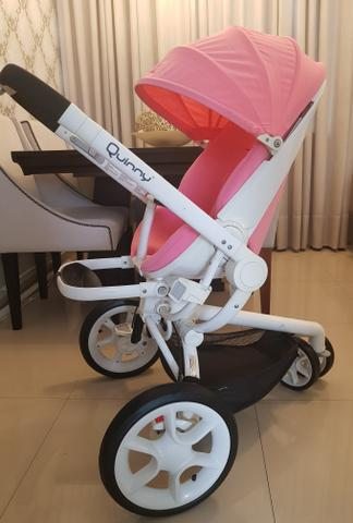 Quinny Moodd Pink Precious Stroller com bebe conforto, base isofix, capa de chuva