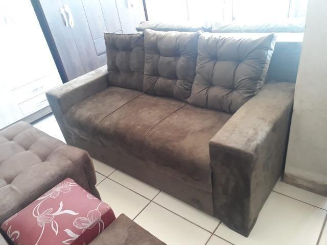Atenção!!Receba No Mesmo Dia Lindo Sofa 3 Lugares Com Almofadas (Novo) - Foto 2