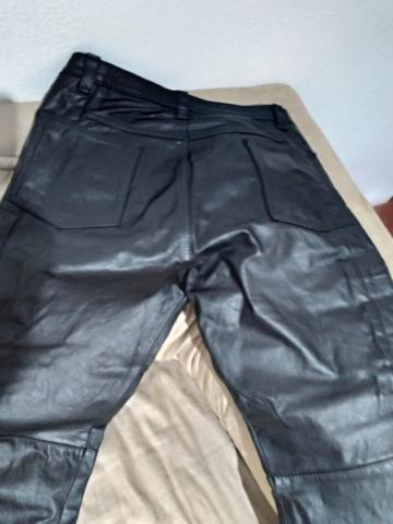 Calça de couro estilo motoqueiro - Foto 5