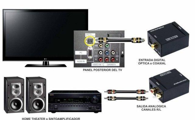 Conversor Audio Optico Digital de Fibra/coaxial Para RCA Analogico - Foto 2