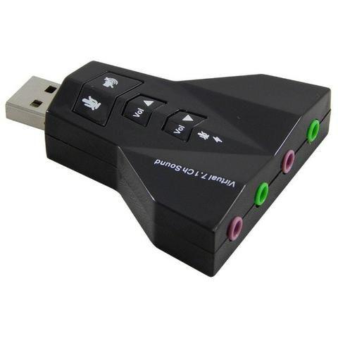 Placa De Som 7.1 Externa Entrada para 2 Microfones e 2 Fones