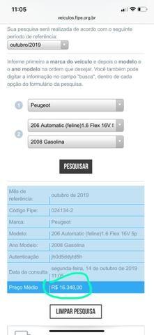 Pegeout 206, automático, ABAIXO TABELA FIPE - Foto 7