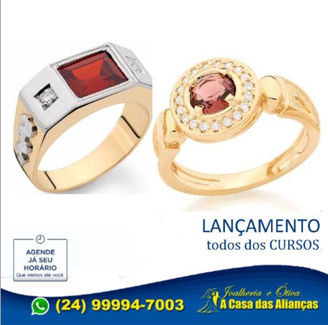 Anéis Moderno de formaturar em ouro 1'8 k - Todos cursos - Foto 2