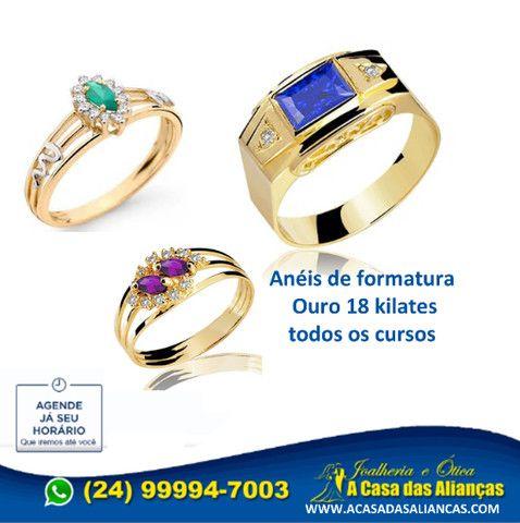 Anéis Moderno de formaturar em ouro 1'8 k - Todos cursos - Foto 3