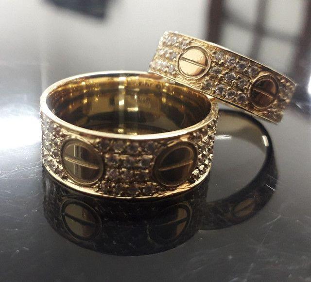 Alianças Cartier em ouro 18k com diamantes sintéticos  - Foto 2