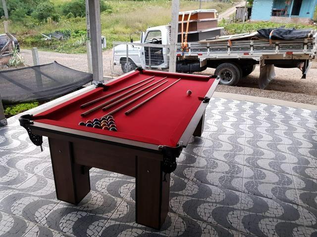 Mesa de Bilhar Vermelha Cor Imbuia Modelo RTZ0431 - Foto 4