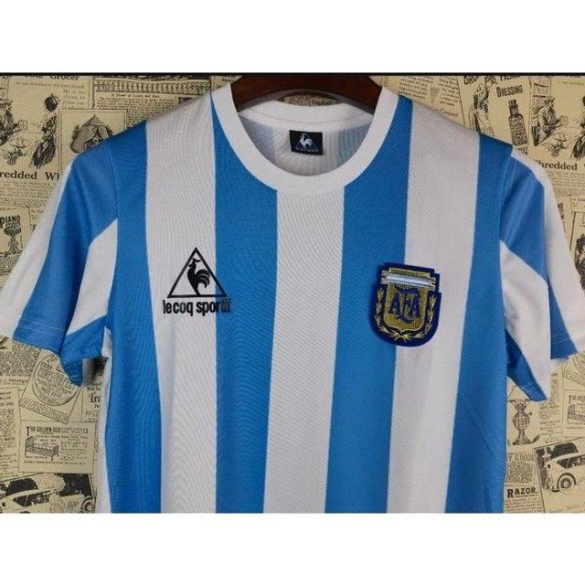 Camisa Retrô da Argentina 1986 - Foto 2