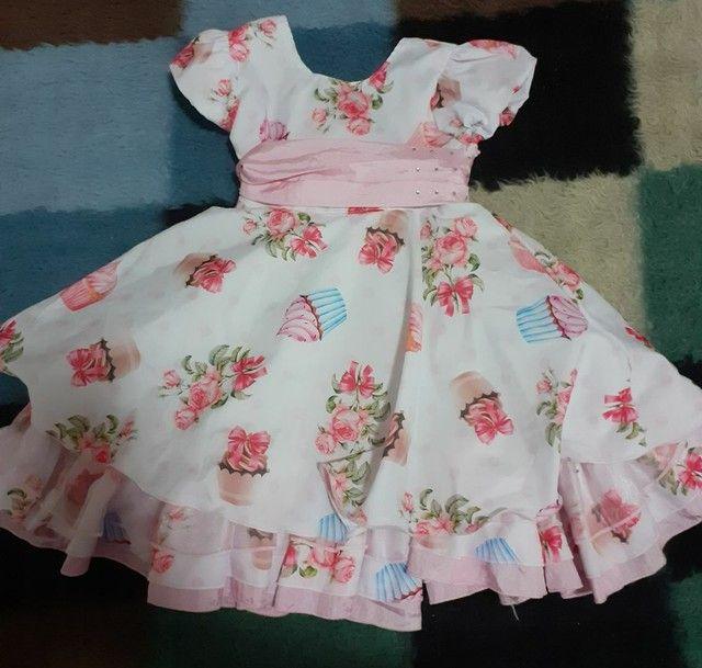 Vestido de Festa Infantil - Tamanho 1 - Tema confeitaria - Roupa para bebês