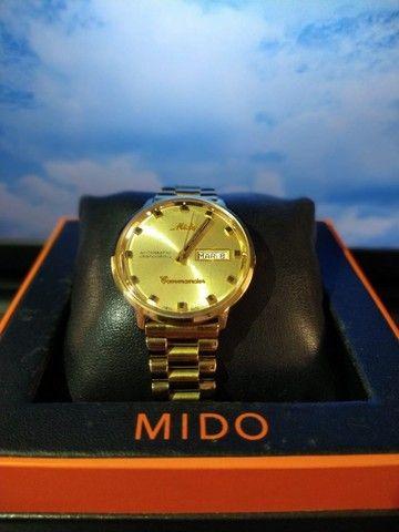 Relógio Mido Commander banhado à ouro