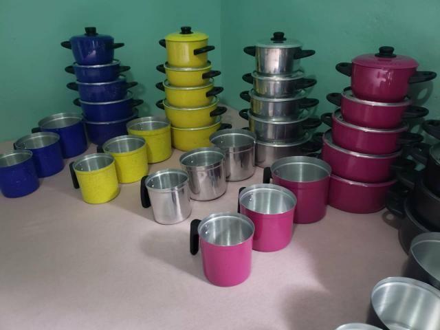 Kit de panela de alumínio e leiteiras
