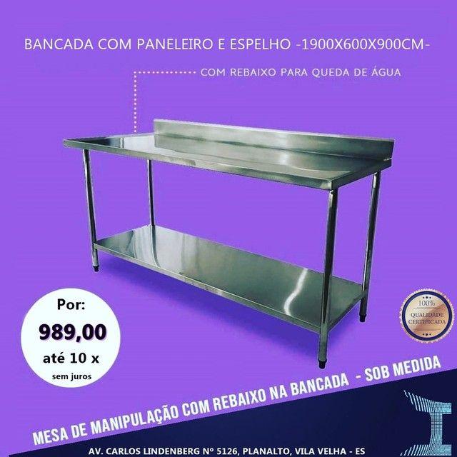 Bancada de aço inox mesa de aço inox  - Foto 3