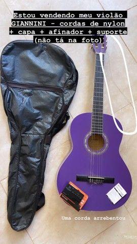 Violão GIannini roxo + afinador + capa protetora + suporte para chão  - Foto 3