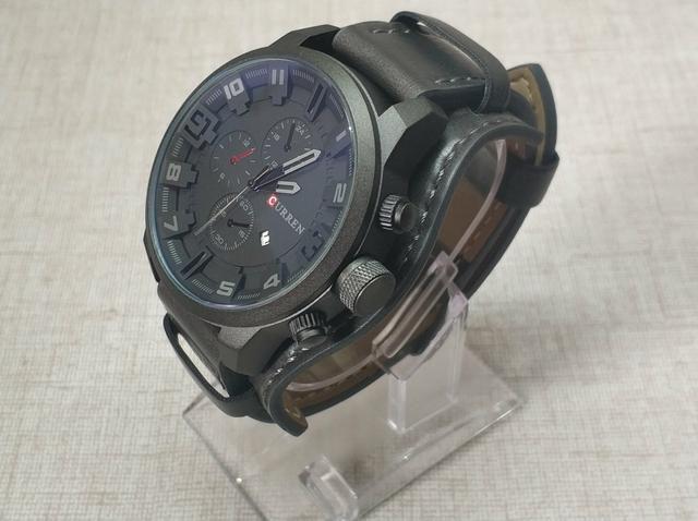 5968ee525c5 Relógio Masculino de Couro - Black - Protetor de Pulso - Bijouterias ...