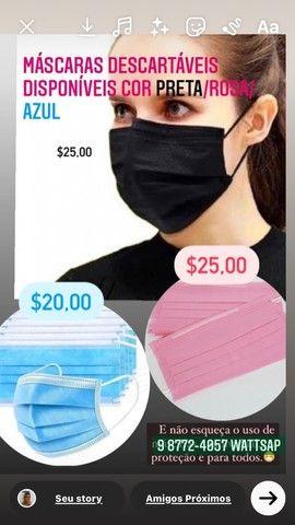 Máscaras Descartáveis cores Preta Rosa e AZUl