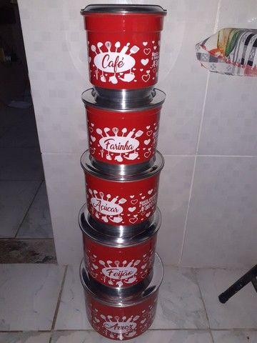 Potes de mantimentos kit com 5 - Foto 3