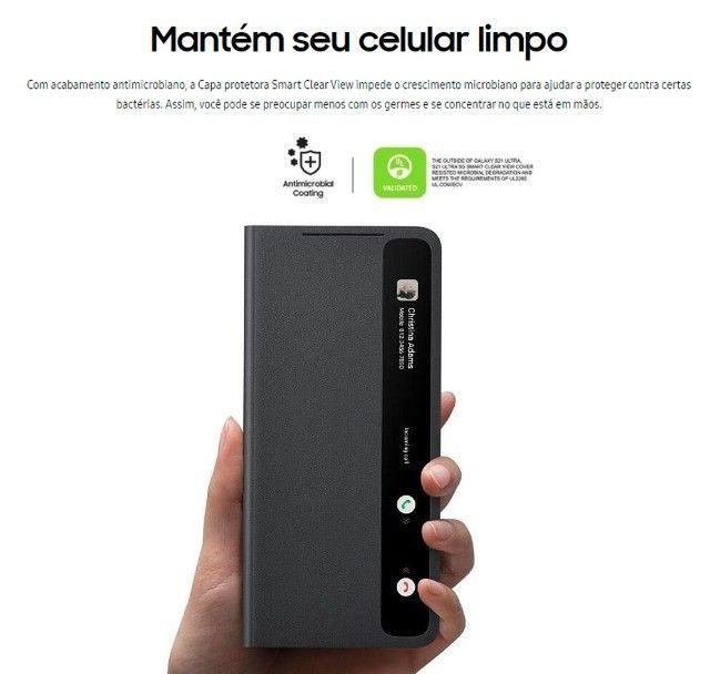 Capa protetora Samsung Galaxy S21 - Smart Clear View - Preta - Foto 4