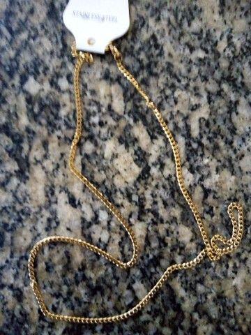 Cordão banhado a ouro 18k, masculino 60cm. - Foto 2