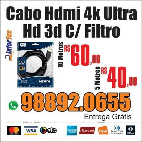 Cabo Hdmi 4K Ultra HD 3D - 5 e 10 Metros MXT Tv Dvr Gamer Entrega Gratis