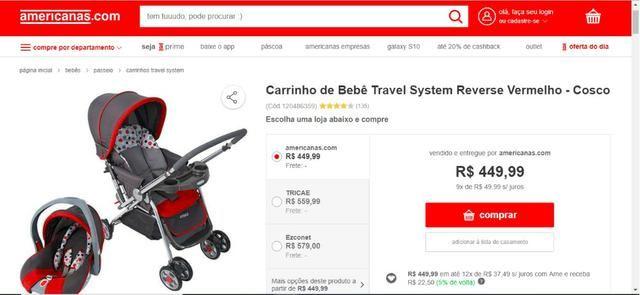 Carrinho de Bebê Travel System + Bebê Conforto - Marca Cosco