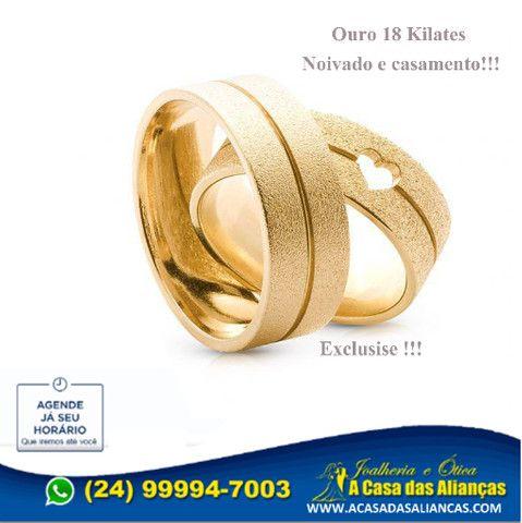 Lindas Alianças ouro 18k _24_ * - Foto 4