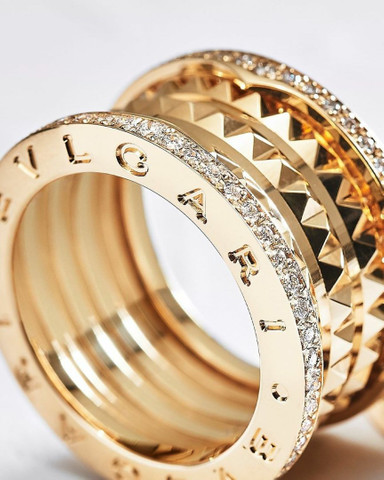Par de Alianças bvlgari com diamantes naturais em ouro 18k