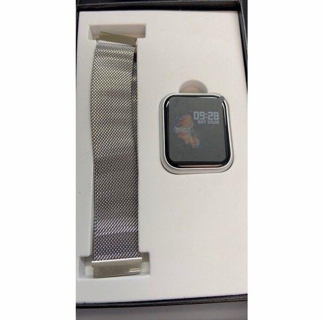 Smartwatch Inteligente Relógio Tfit P70 2 Pulseira Aço+puls Extra - Foto 4