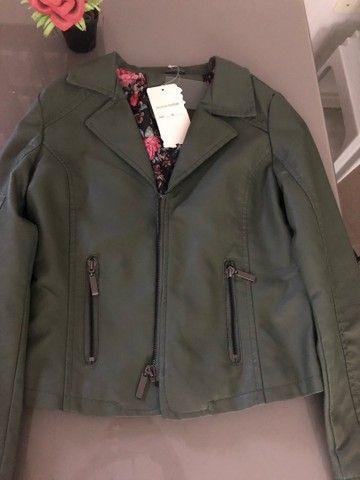 Jaqueta de Couro Verde Militar