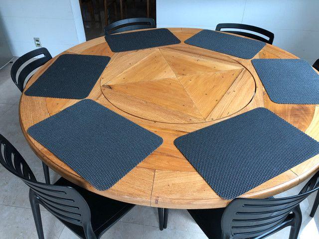 Mesa em madeira Peroba redonda - Foto 2