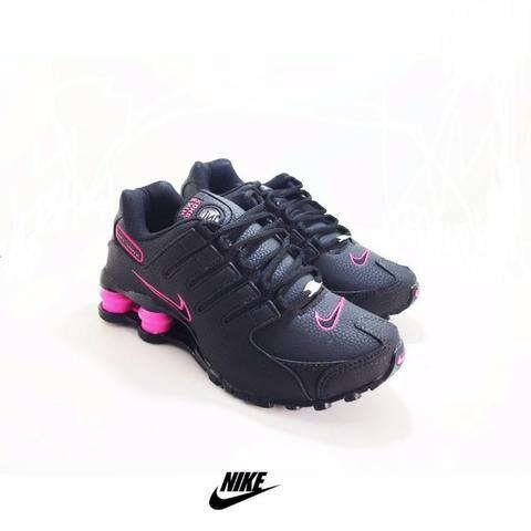 tenis nike shox cinza com rosa