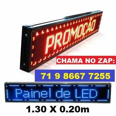 Letreiro Digital Painel de Led Azul ou Vermelho Luminoso 1,30 x 0,20m c/ Usb (Novo)