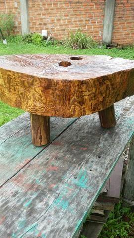 Vendo mesa centro rustica bolacha de tronco