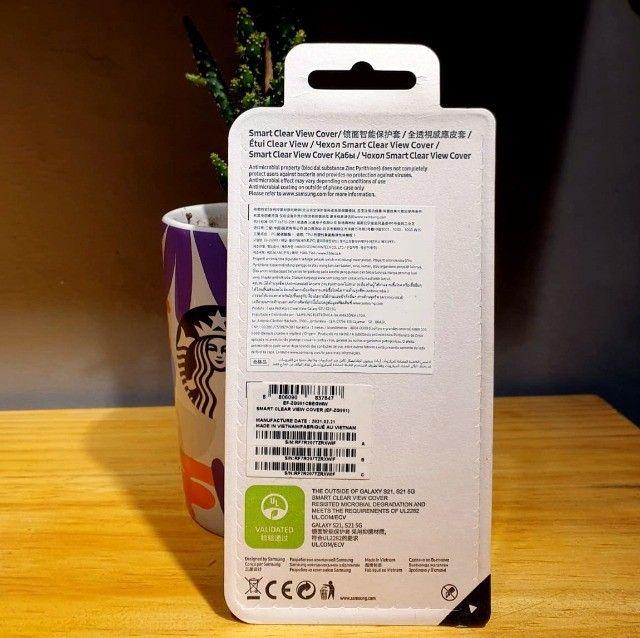 Capa protetora Samsung Galaxy S21 - Smart Clear View - Preta - Foto 2