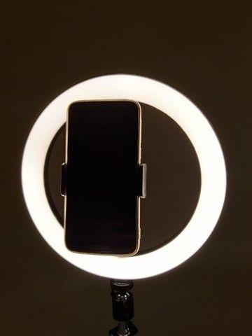 Ring Light Led Completo Iluminador Portátil 26cm Tripé 360º - Foto 3