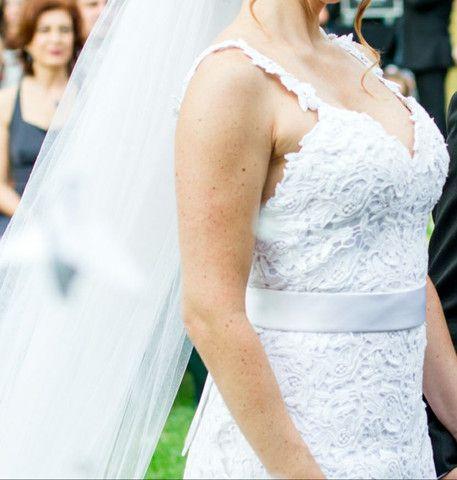 Vestido de noiva todo em renda Gripir usado 2x - Foto 2