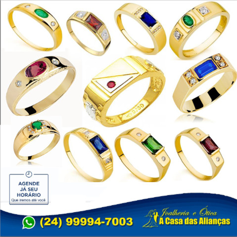 Anéis Moderno de formaturar em ouro 1'8 k - Todos cursos