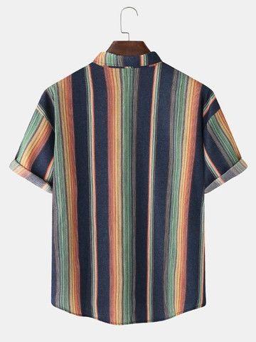 Camisa De Botão Listrada Arco-Íris Azul - Tamanho GG - Foto 2