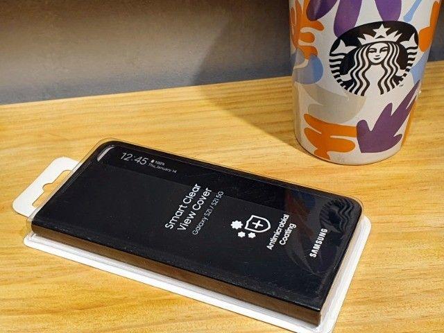 Capa protetora Samsung Galaxy S21 - Smart Clear View - Preta - Foto 3