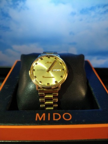 Relógio Mido Commander banhado à ouro - Foto 4
