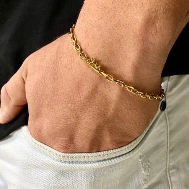 Pulseira Cartier cadeado 4 mm banhado a ouro 18 k - Foto 3