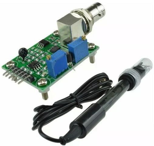 COD-AM277 Módulo Sensor + Ph Eletrodo Sonda Bnc Phmetro Ph0-14 Arduino Automação Robot - Foto 4