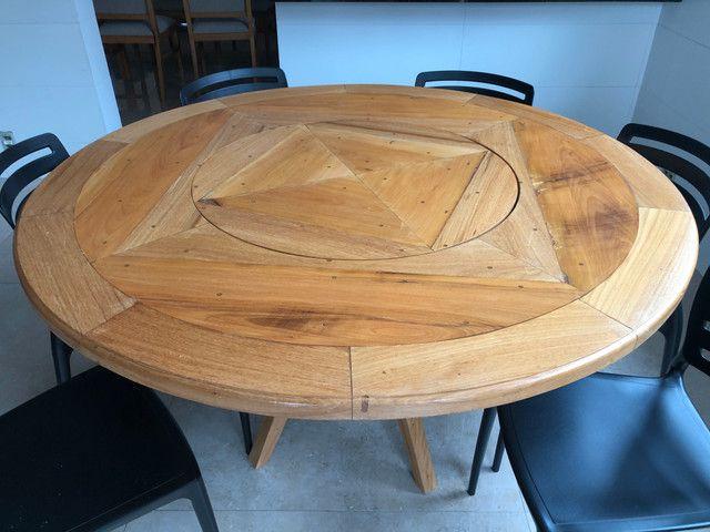 Mesa em madeira Peroba redonda - Foto 4