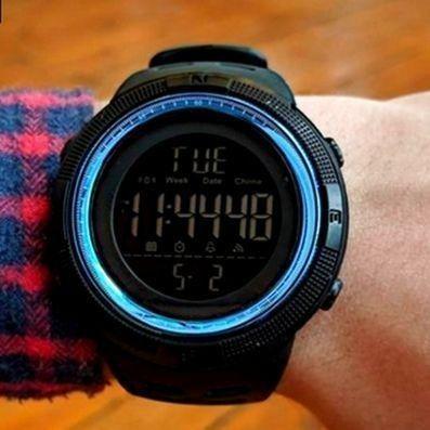 Relógio Masculino Skmei 1251 Preto/Azul 5ATM Original - Foto 4